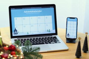 Online Adventskalender auf Laptop und Smartphone