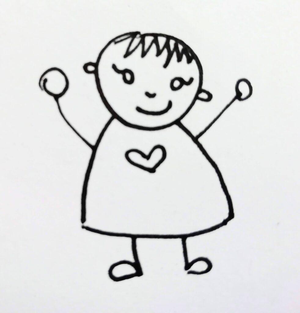 Kind mit Herz freut sich (gezeichnet)
